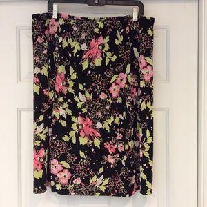 Jaclyn Smith Black Floral Stretch Skirt Plus Sz 1X